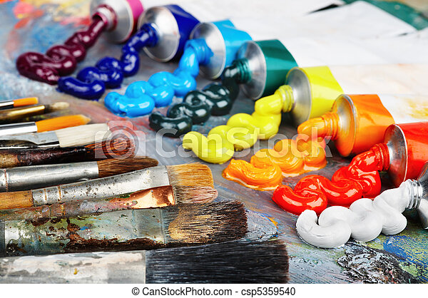 Oil paint and brushes - csp5359540