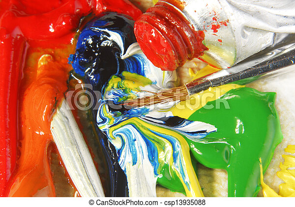 oil paint mixing - csp13935088