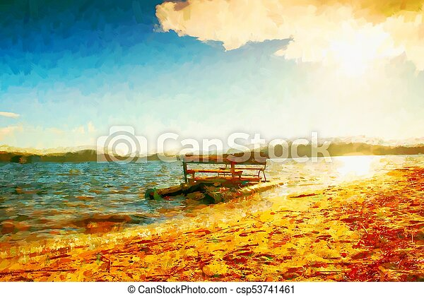 Oil painting  Abandoned old boat stuck on sand of beach  Wavy water level,
