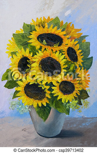 Oil Painting Bouquet Of Sunflowers In A Vase On An Abstract