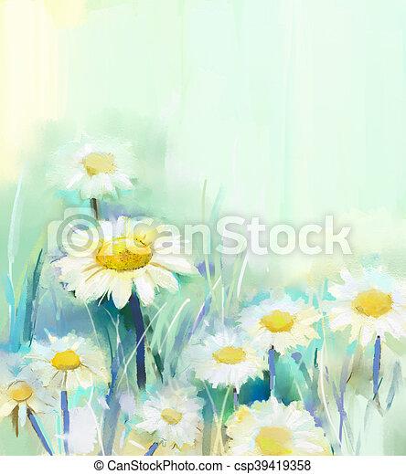 Oil painting daisy flowers in field hand paint white flowers daisy oil painting daisy flowers in field csp39419358 mightylinksfo