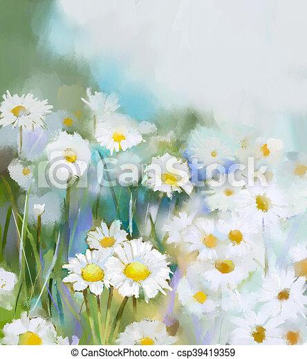 Oil painting daisy flowers in field hand paint white flowers daisy oil painting daisy flowers in field csp39419359 mightylinksfo