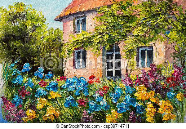 Oil Painting Landscape, House In The Flower Garden, Abstract Impressionism    Csp39714711