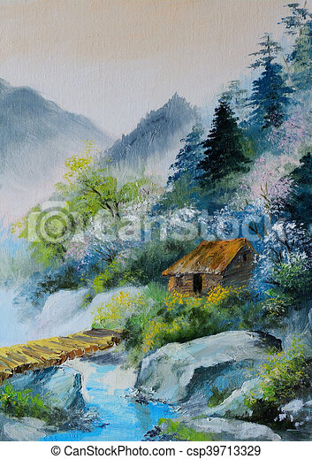 Oil Painting - Landscape In Mountains, House In The Mountains And Forests  Near The Bridge, Abstract Stock Illustration