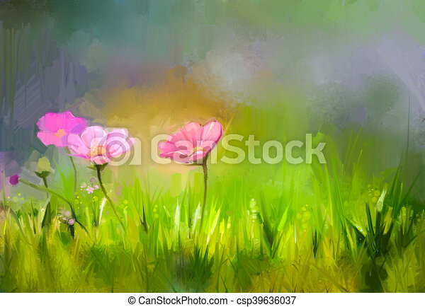 Oil painting nature grass flowers pink cosmos flower oil oil painting nature grass flowers pink cosmos flower csp39636037 mightylinksfo Image collections