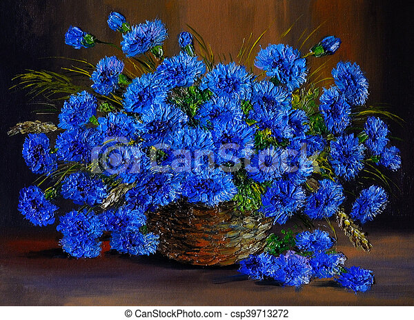 Oil Painting Of Blue Flowers In A Vase Art Work Oil Painting Of