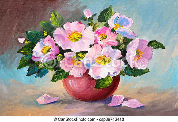 Oil Painting Of Spring Pink Wild Roses In A Vase On Canvas Art Work