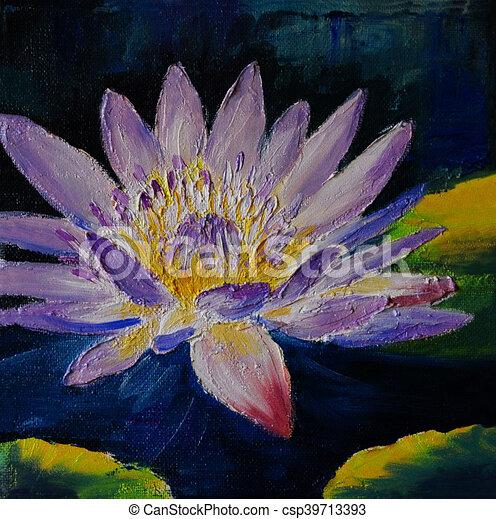 Oil painting purple lotus flower abstract drawing made in the oil painting purple lotus flower abstract drawing made in the style of impressionism mightylinksfo