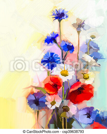 Oil painting red poppy flowers blue cornflower and white daisy oil painting red poppy flowers blue cornflower and white daisy csp39638793 mightylinksfo