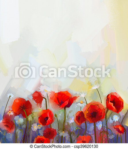 Oil painting red poppy flowers spring floral nature background oil painting red poppy flowers csp39620130 mightylinksfo