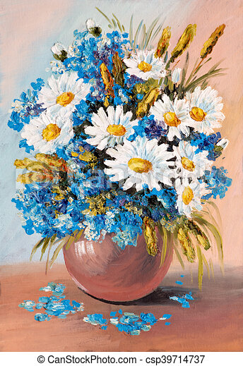 Oil Painting Still Life A Bouquet Of Flowers Vase Agriculture
