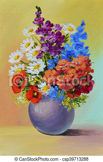 Oil Painting , still life, a bouquet of flowers