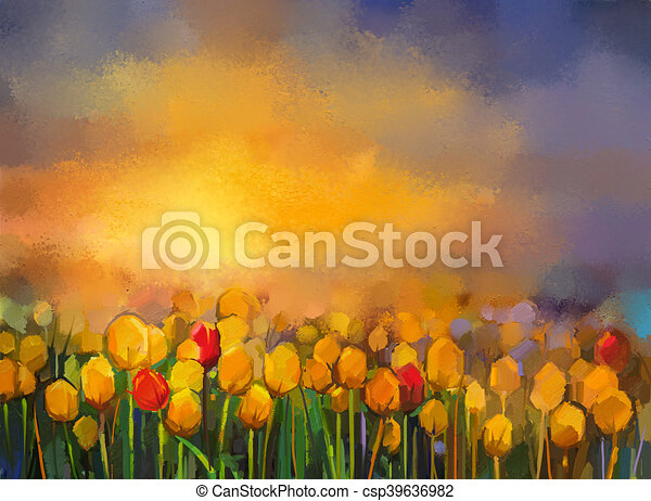 Oil painting yellow and red tulips flowers field landscape oil painting yellow and red tulips flowers field csp39636982 mightylinksfo