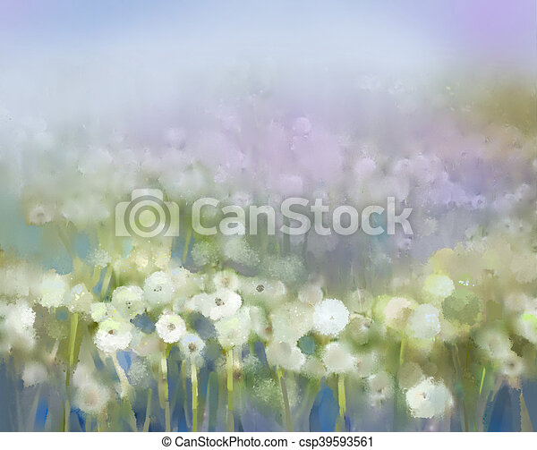 Abstract oil painting white flowers field in soft color oil abstract oil painting white flowers field in soft color oil paintings white dandelion flower in the meadows spring floral seasonal nature background mightylinksfo