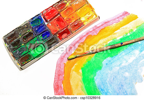 oil paints on white background - csp10328916