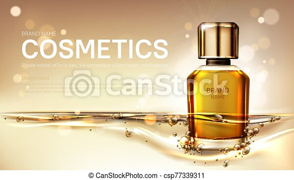 Oil perfume bottle with gold liquid background - csp77339311
