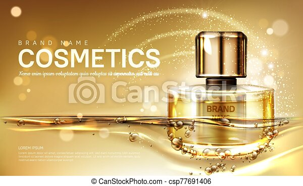 Oil perfume bottle with gold liquid background - csp77691406