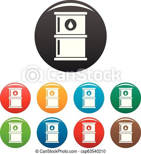 Oil petrol barrel icons set color - csp63540210
