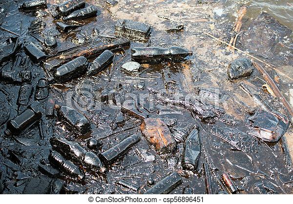 oil pollution in the sea - csp56896451