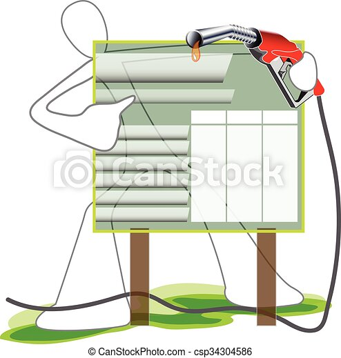Oil Price Board Symbol cartoon Man