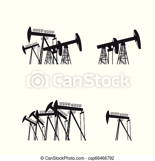 Oil producing Rig silouette. Black pictogram on white background. Vector illustration - csp66466792