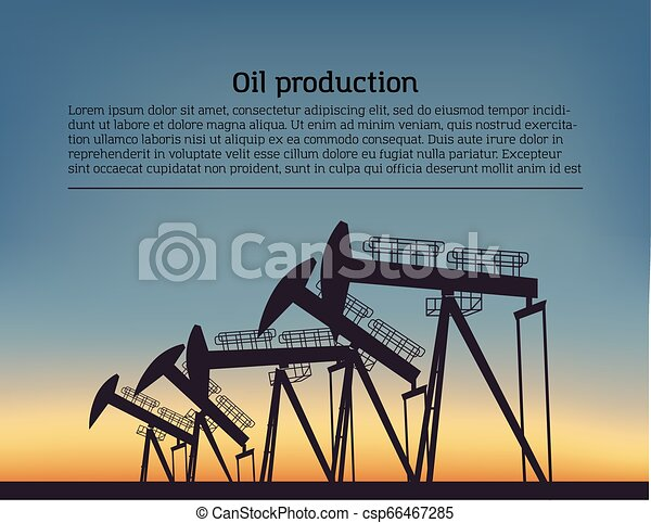Oil producing Rig silouette. Black pictogram on color background. Vector illustration with text - csp66467285