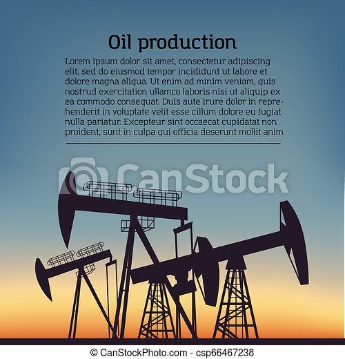 Oil producing Rig silouette. Black pictogram on color background. Vector illustration with text - csp66467238