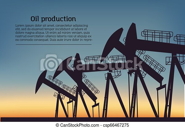 Oil producing Rig silouette. Black pictogram on color background. Vector illustration with text - csp66467275