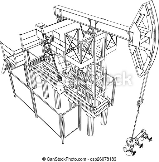 Oil Pump Jack Vector Rendering Of 3d Oil Pump Jack Detailed