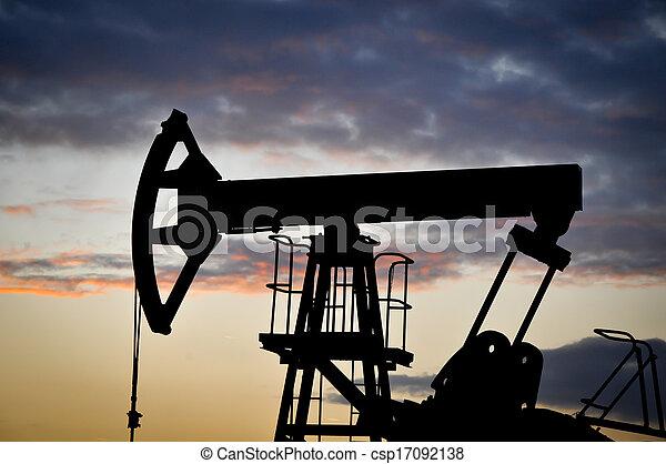 Oil Pump on orange sunset - csp17092138