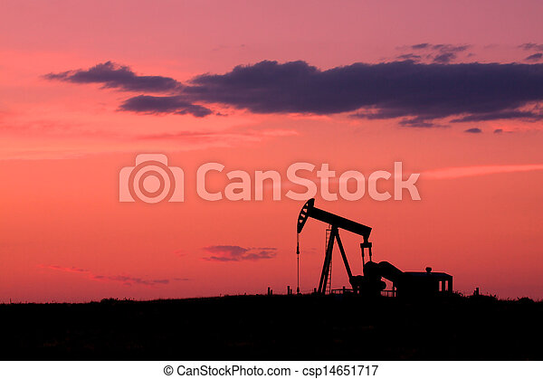 Oil Pumpjack at Sunset - csp14651717