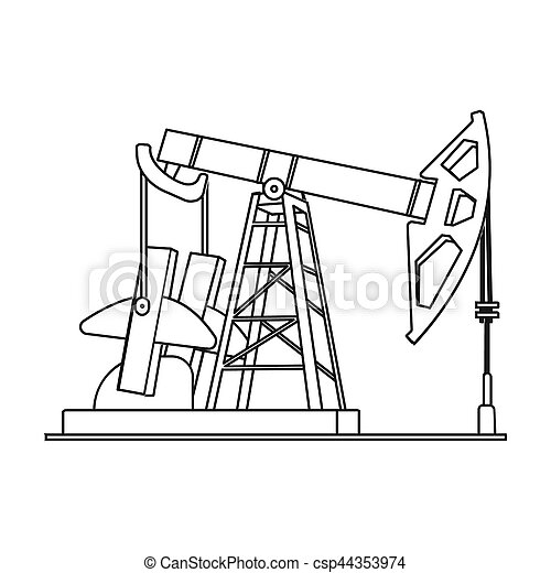 Oil pumpjack icon in outline style isolated on white background. Oil industry symbol stock bitmap, rastr illustration. - csp44353974