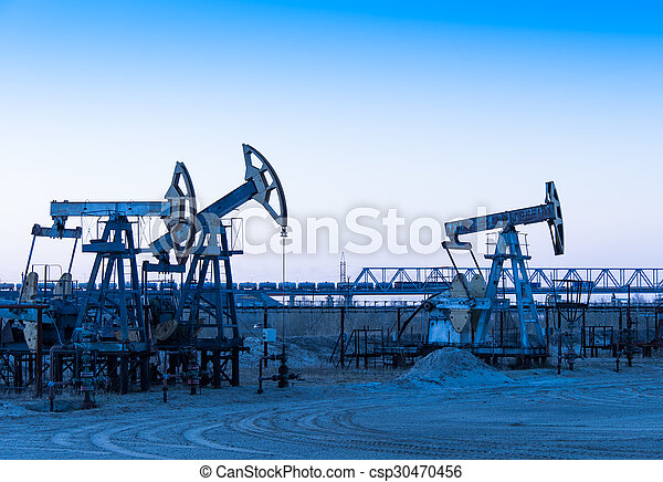 Oil pumps on a oil field. - csp30470456