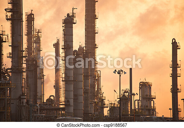 Oil Refinery at Sunrise - csp9188567