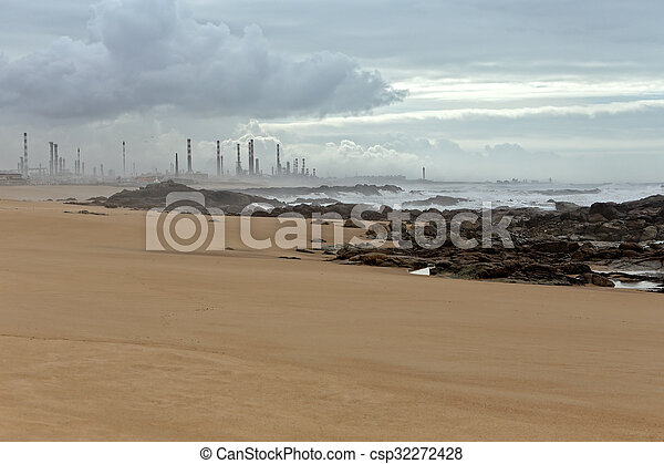 Oil refinery by the sea - csp32272428