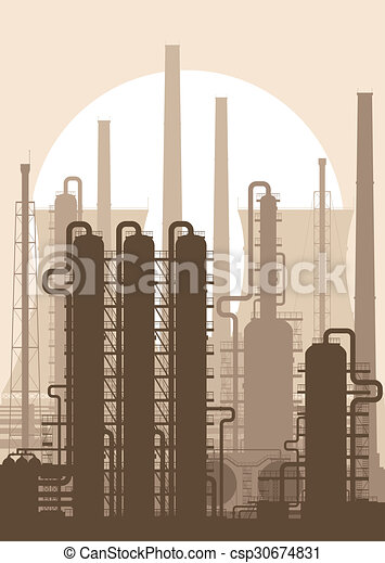 Oil refinery or chemical plant silhouette. - csp30674831