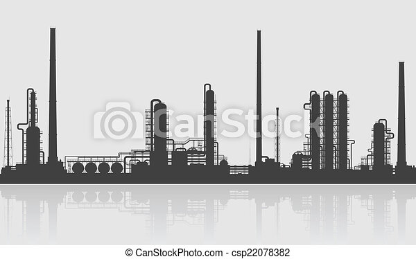 Oil refinery or chemical plant silhouette. - csp22078382