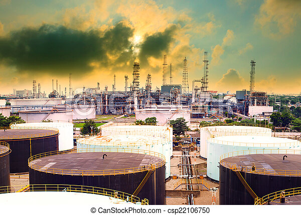 oil refinery plant in heavy industry estate against beautiful du - csp22106750