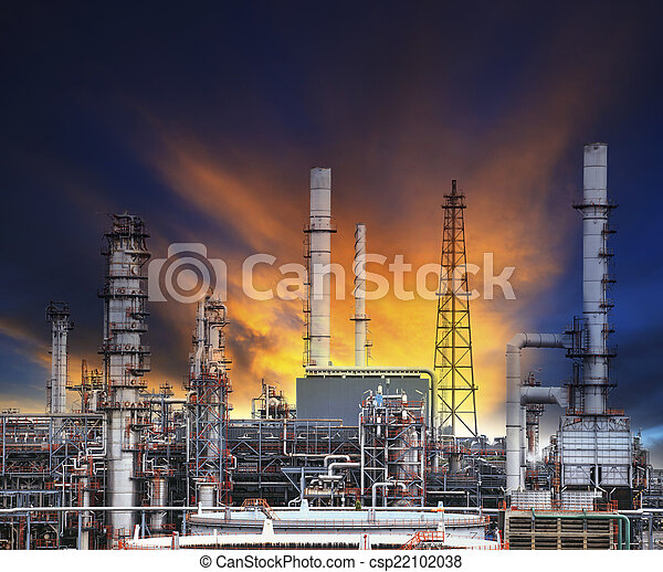 oil refinery plant in heavy industry estate against beautiful du - csp22102038