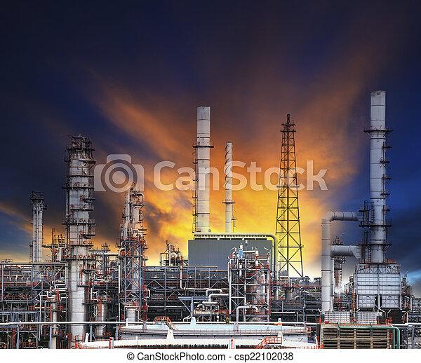 oil refinery plant in heavy industry estate against beautiful du - csp22102038