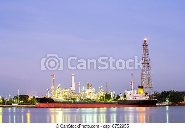 Oil refinery plant with tanker night - csp16752955