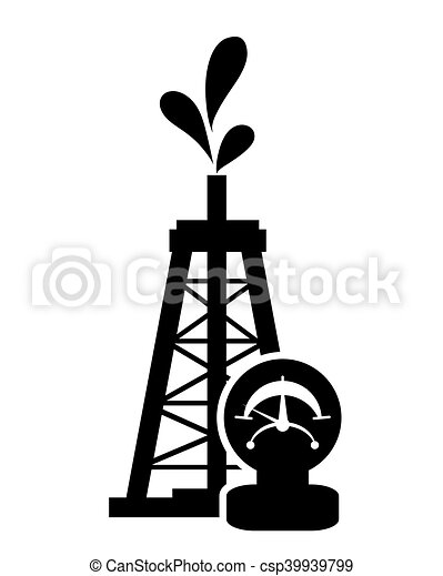 flat design oil rig and manometer icon vector illustration eps rh canstockphoto ca