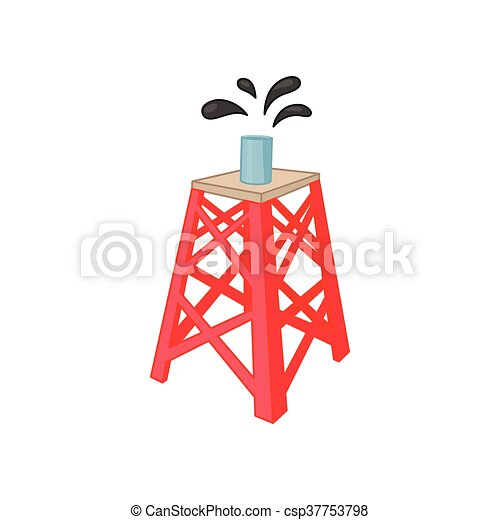 Oil rig icon in cartoon style - csp37753798