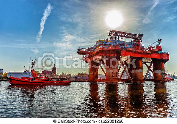 Oil Rig in port - csp22881260