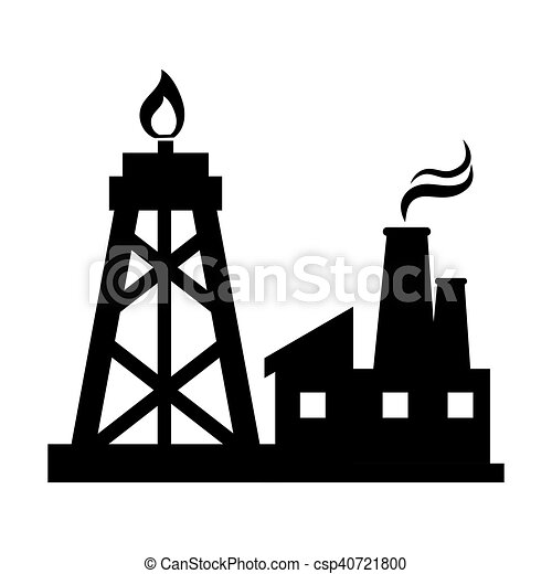 oil rig tower and factory building silhouette vector vector rh canstockphoto com oil rig clipart oil platform clipart