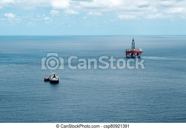 Oil station in the middle of the sea, near Tenerife - csp80921391