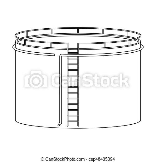 Oil storage tank. Oil single icon in outline style vector symbol stock illustration web. - csp48435394