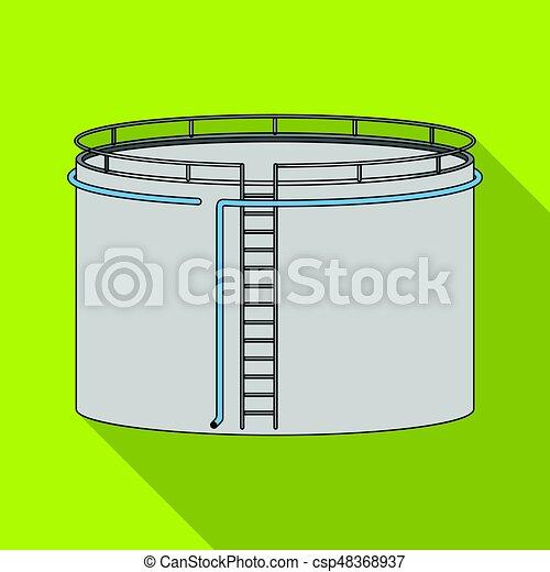 Oil storage tank. Oil single icon in flat style vector symbol stock illustration web. - csp48368937