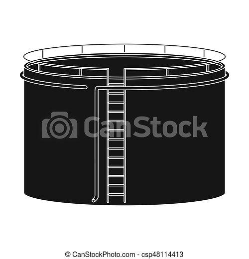 Oil storage tank. Oil single icon in black style vector symbol stock illustration web. - csp48114413