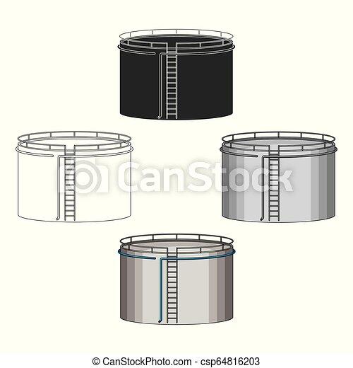 Oil storage tank. Oil single icon in cartoon style vector symbol stock illustration web. - csp64816203